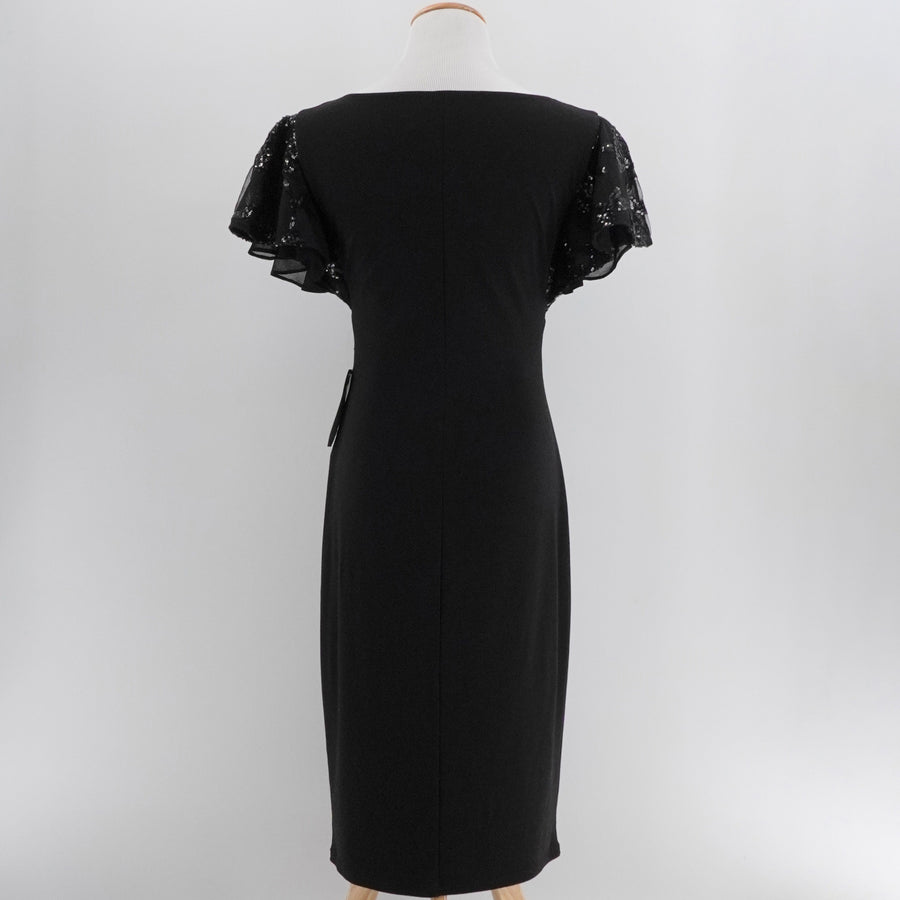 Flutter Sleeve Black Dress