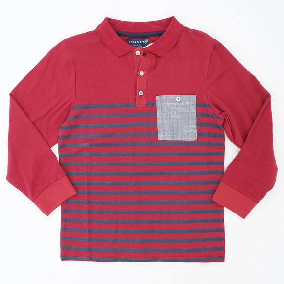 Maroon Striped Long Sleeve Polo Size 9/10