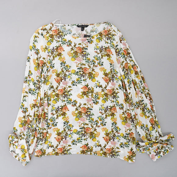 Tie Cuff Boat Neck Floral Blouse Size M