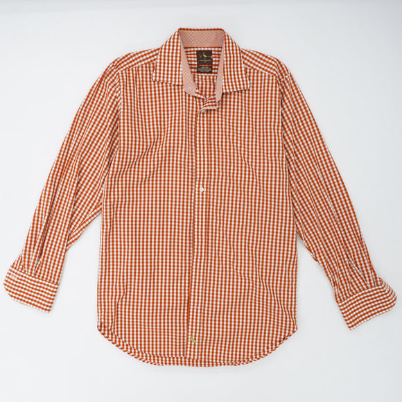 Rust Checked Button Down Shirt Size L