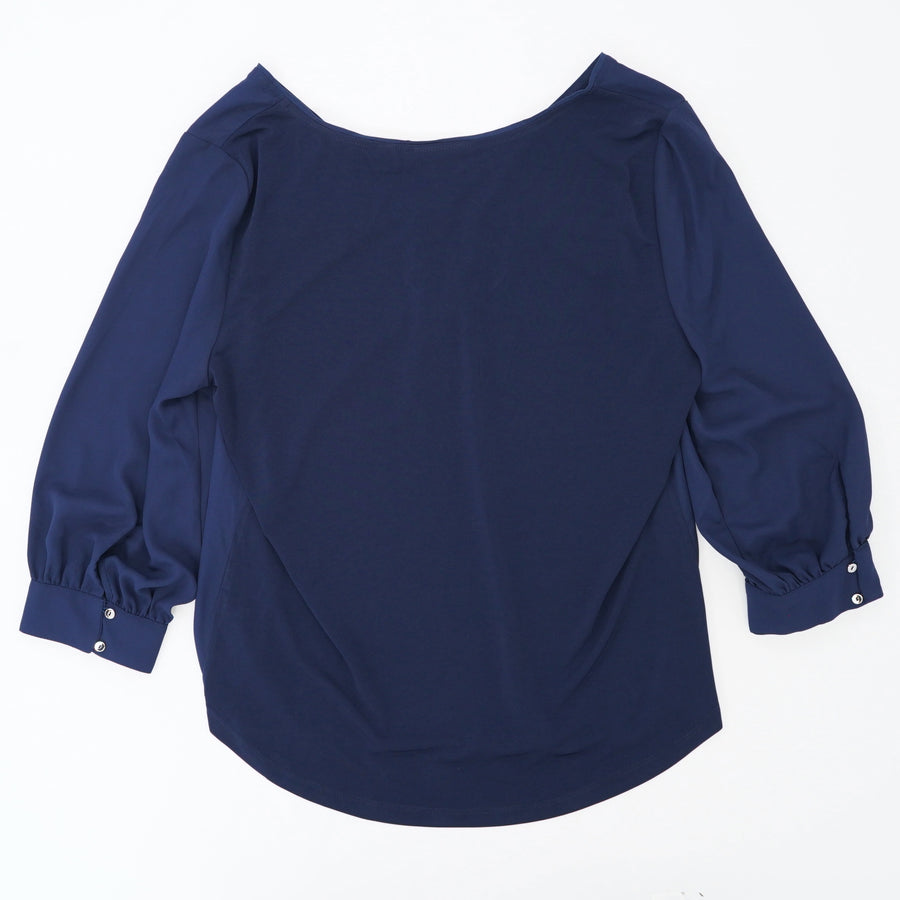 Navy V-Neck With Zipper Detail Blouse Size M