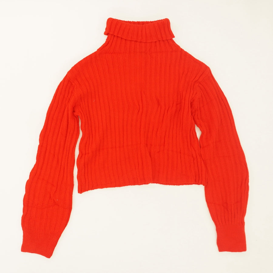 Red Cropped Turtleneck Sweater Size OS