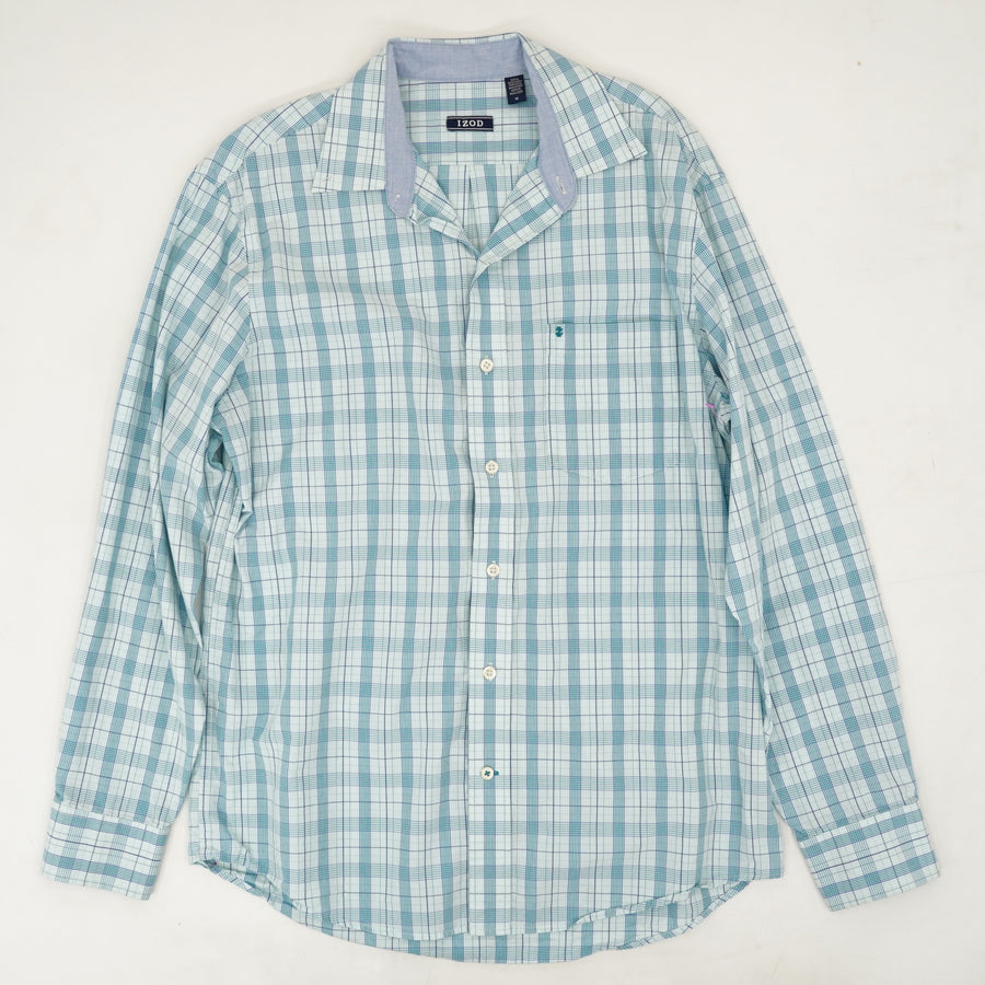 Blue Plaid Long Sleeve Collared Shirt Size M