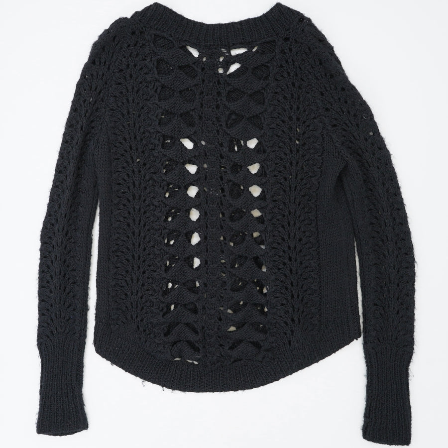 Twisted Cutout Crochet Sweater Size S