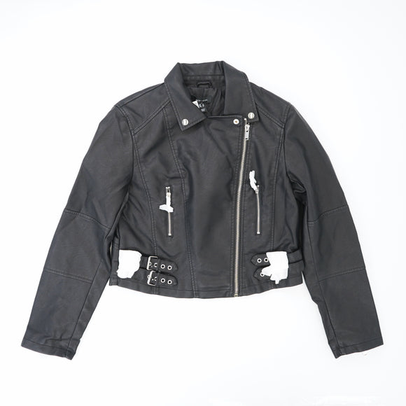 Cropped PU Motorcycle Jacket Size 12