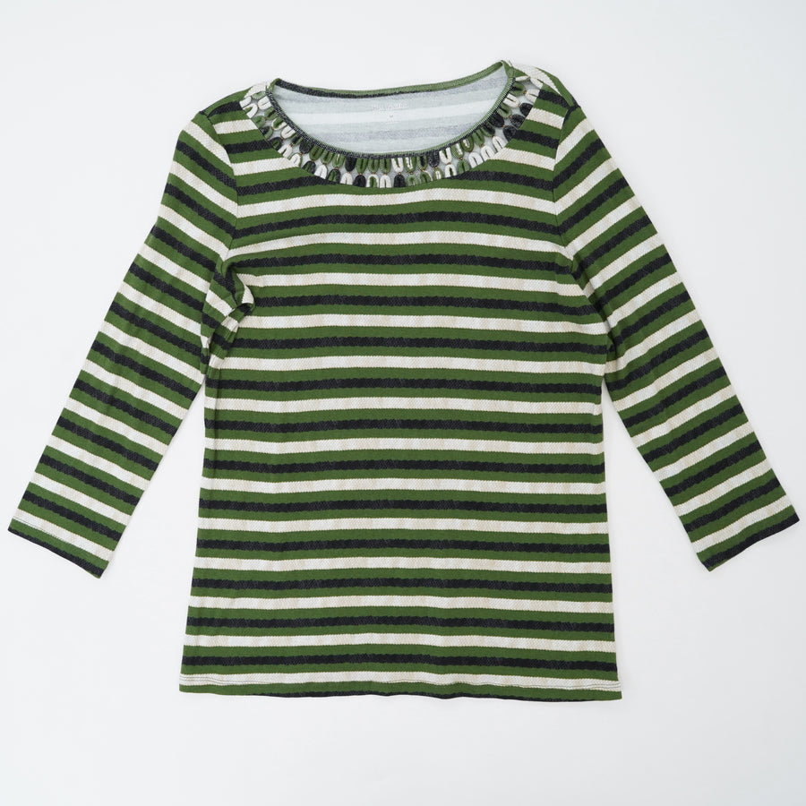 Detailed Neck Line Striped Blouse Size M