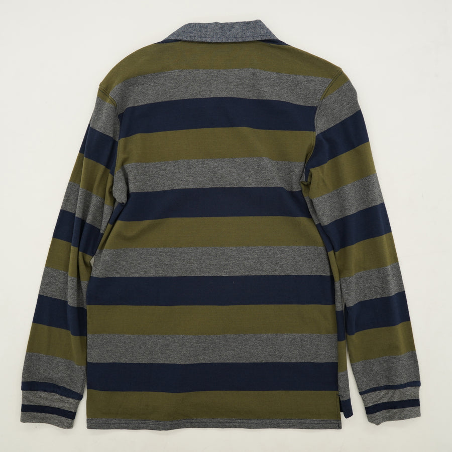 Skull Striped Long Sleeve Polo Size L