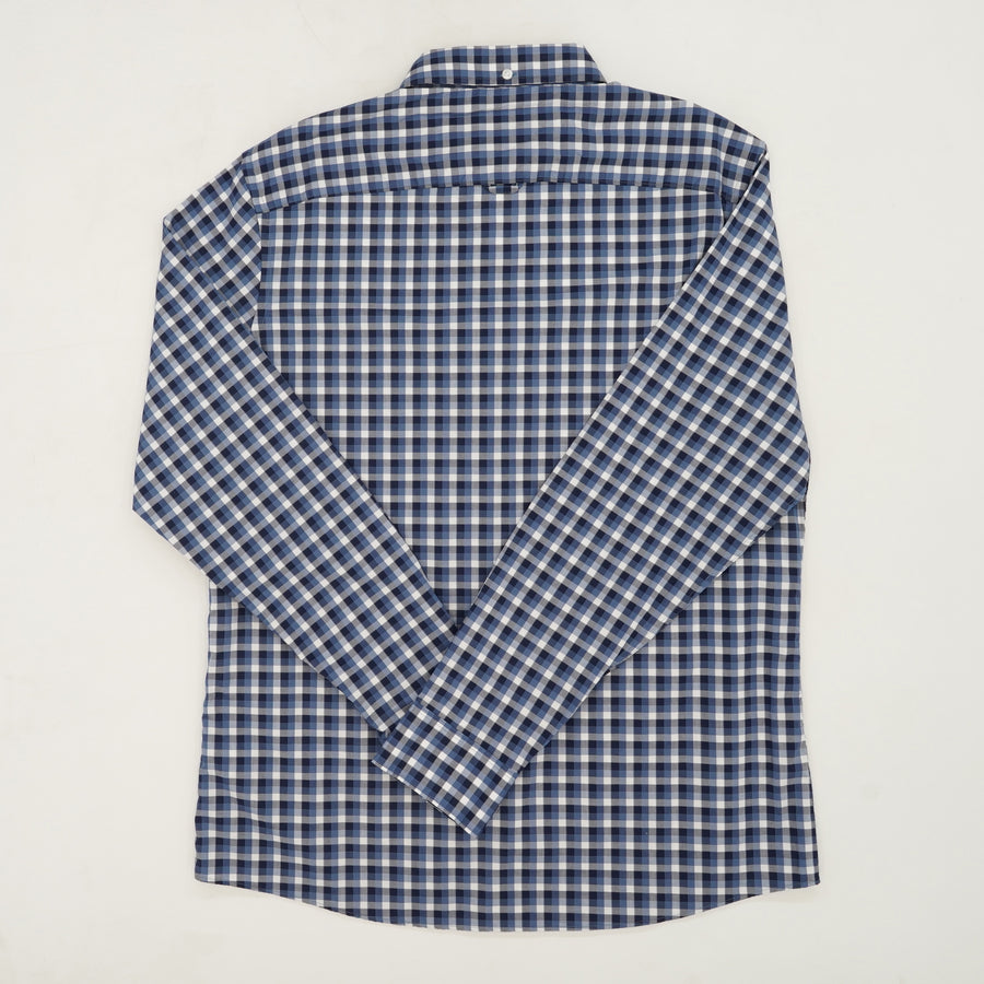 Blue Trim Fit Long Sleeve Checked Shirt Size L