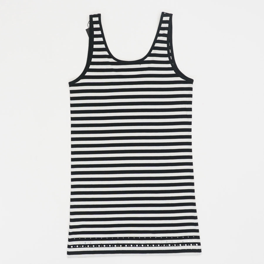 Striped Tank with Bedazzled Trim - Size 36
