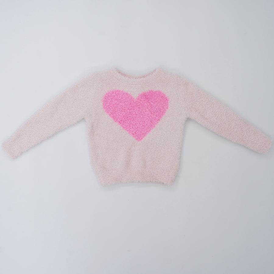 Pink Heart Textured Sweater Size 24M