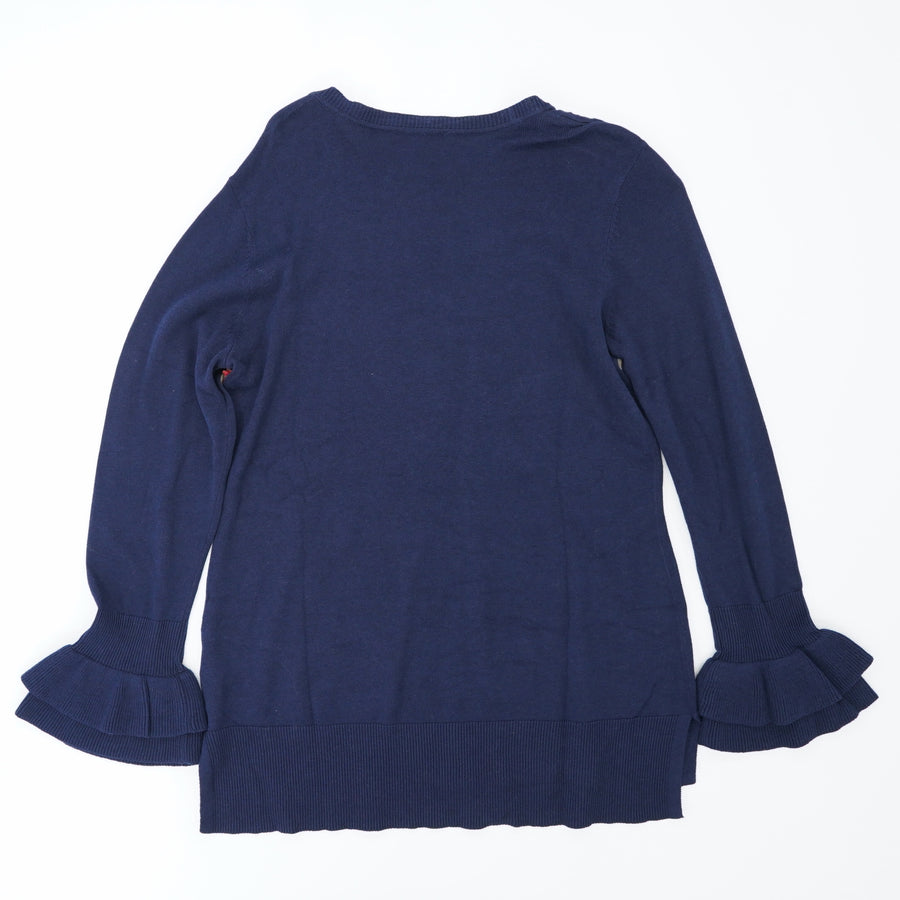 Navy Ruffle Bell Sleeve Sweater Size S