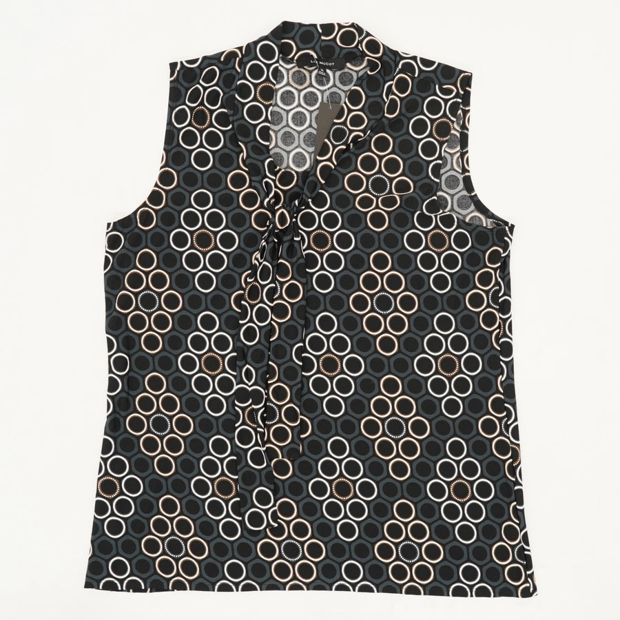 Printed Tie Neck Top - Size XL