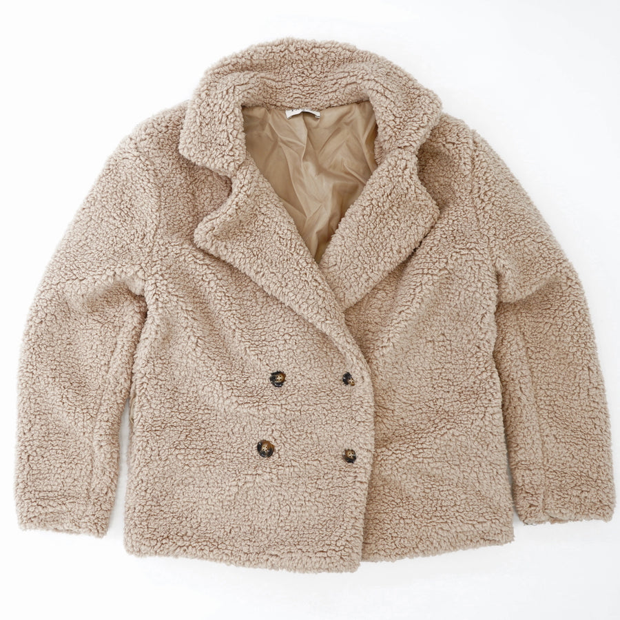 Double Breasted Teddy Coat - Size S