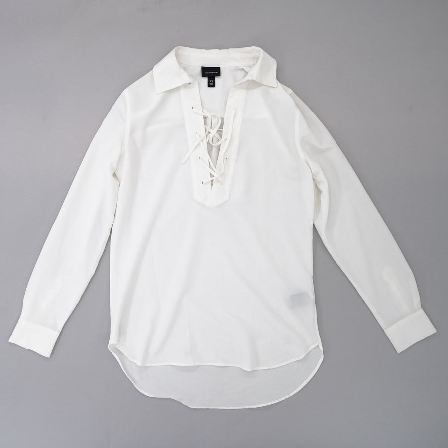 Lace Up Collared Shirt Size XS
