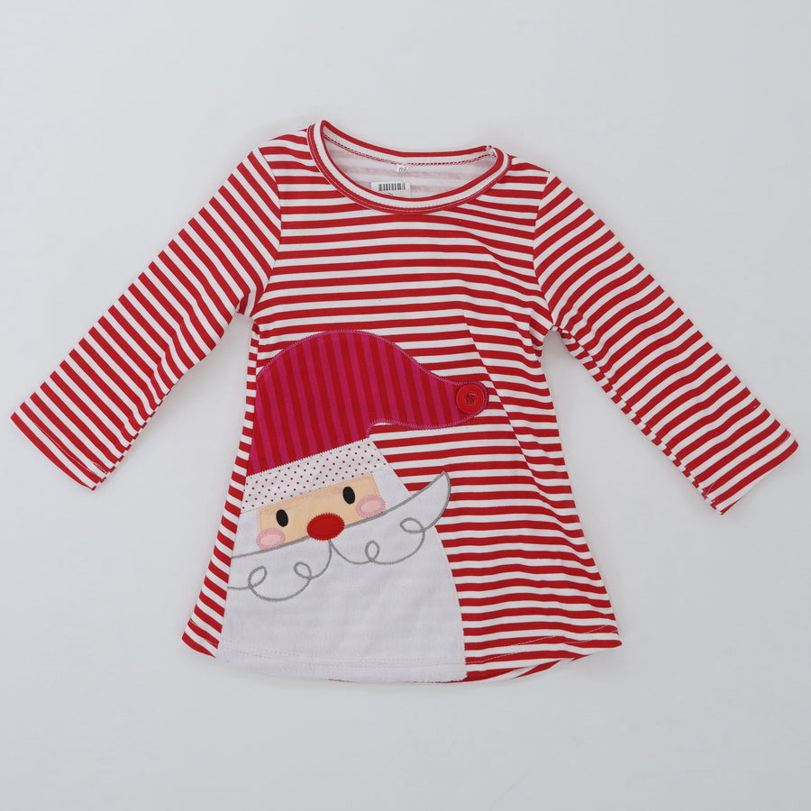 Christmas Santa Striped Long Sleeve Dress Size 12/18 Months