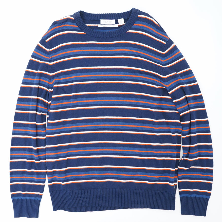 Navy Allover Striped Sweater Size XL
