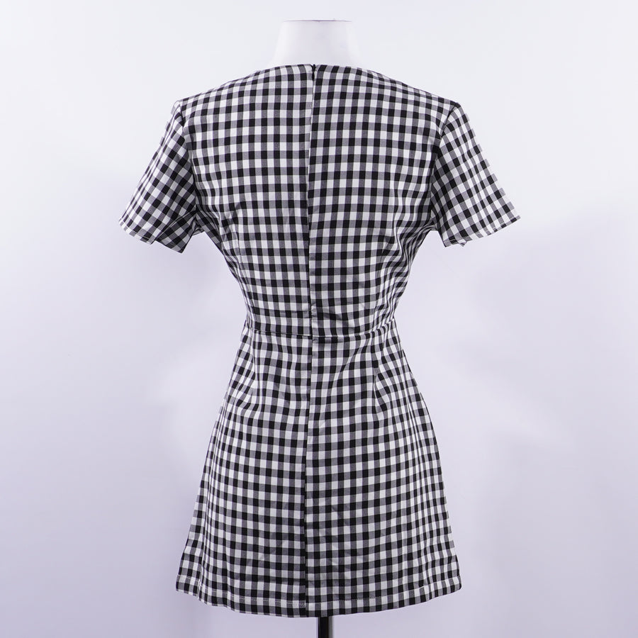 Black/White Gingham Mini Dress - Size 6