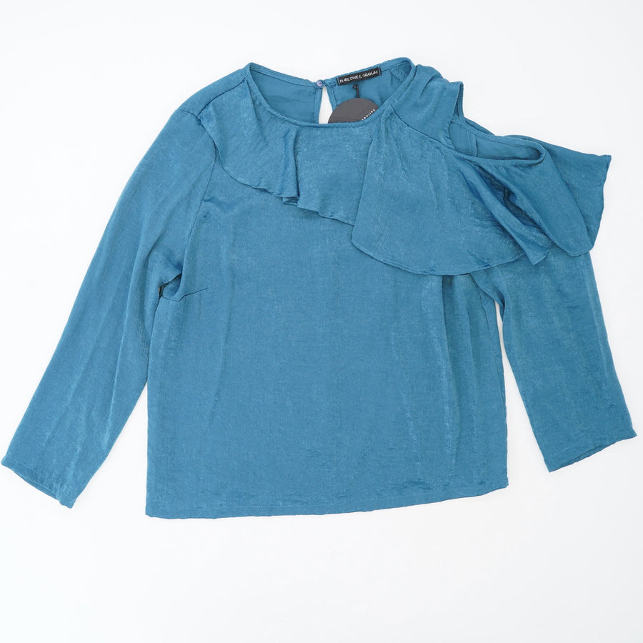 Ruffle Detail One Cold Shoulder Blouse Size S