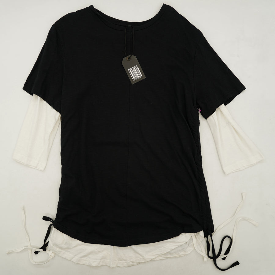 Double Layer Tee Side Ties Shirt Size M