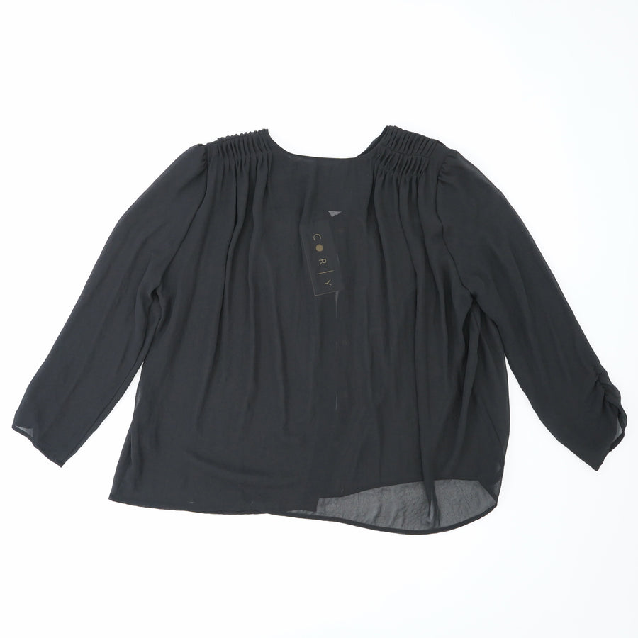 Sheer Black Button Up Size 4