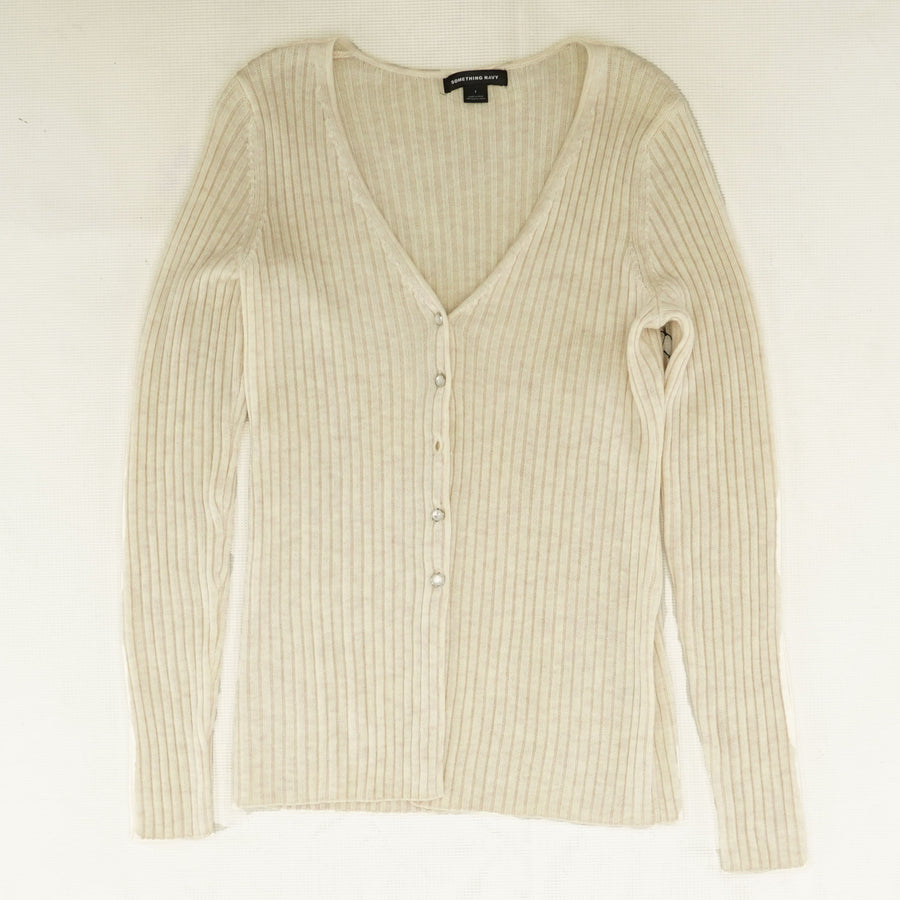 Ribbed V-Neck Sweater - Size L