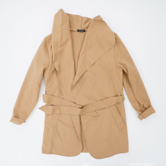 Camel Waterfall Coat With Belt Size O/S