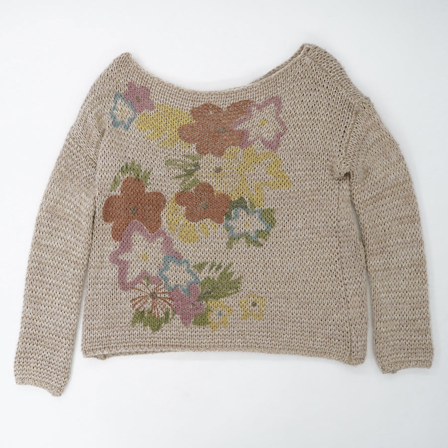 Gold Thread Floral Sweater Size M