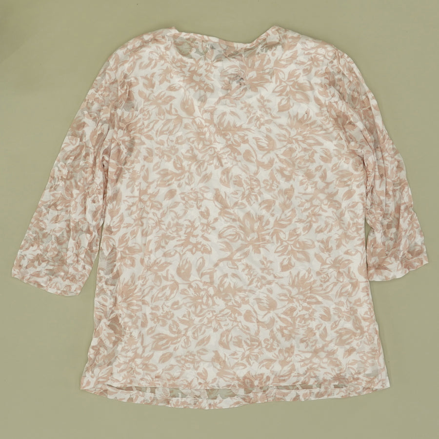 White And Pink Floral Blouse - Size PXL