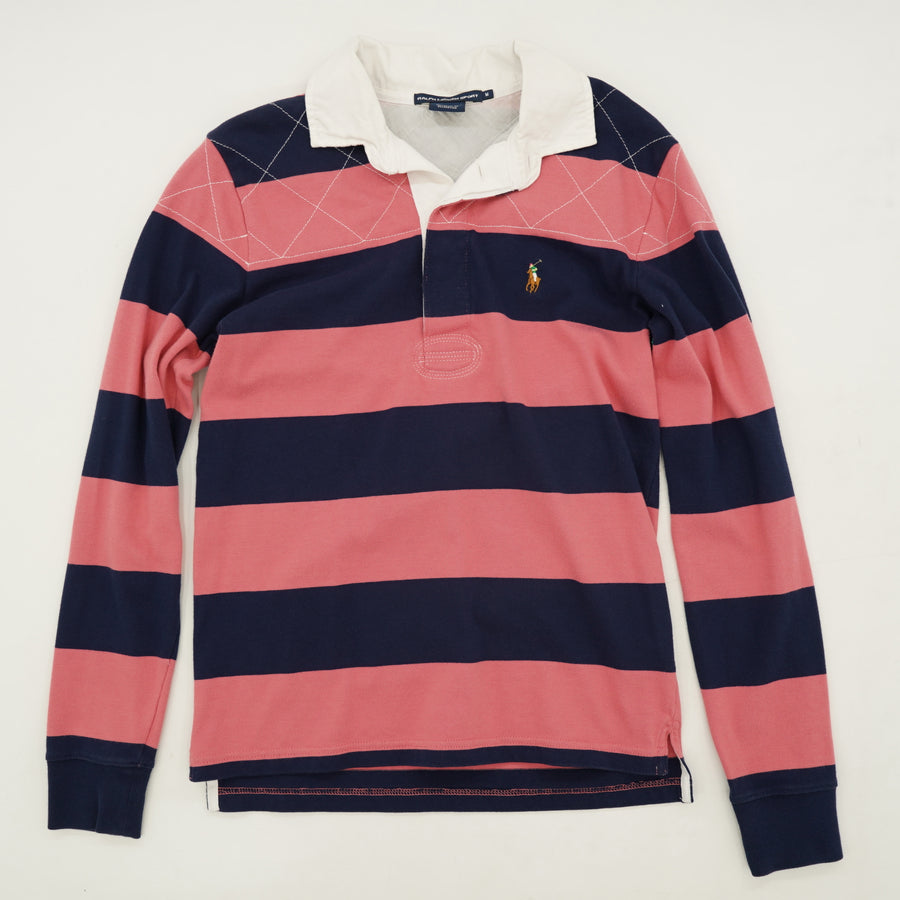 Striped Long Sleeve Polo Shirt Size M