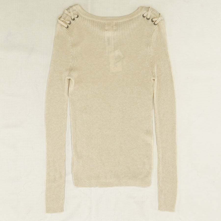 Heather Oatmeal Ribbed Sweater - Size L