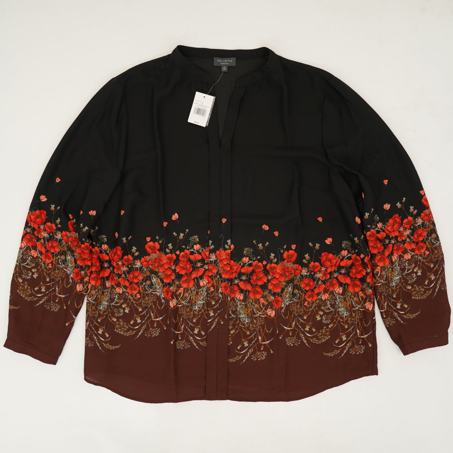 Black and Floral Detail Sheer Blouse Size XL