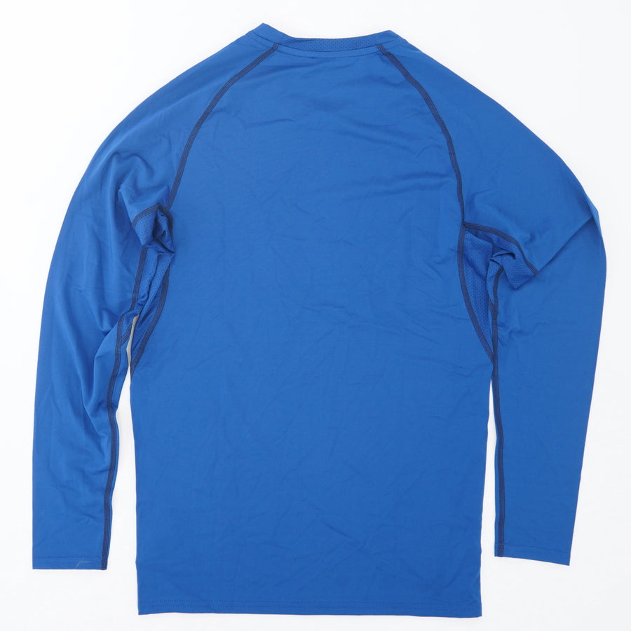 Blue Solid Long Sleeve T Shirt Size M