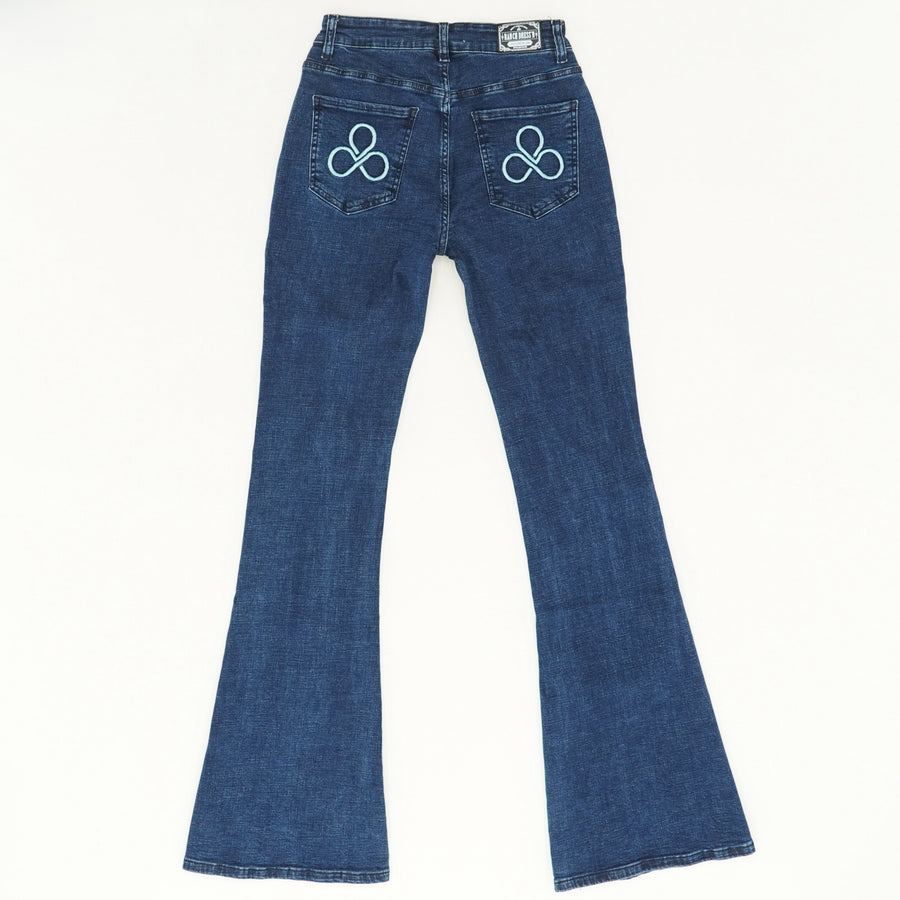 Pocket Detail Flare Jeans - Size 2