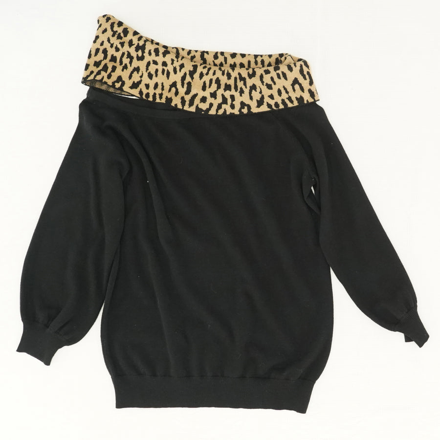 Leopard One Shoulder Sweater - Size M