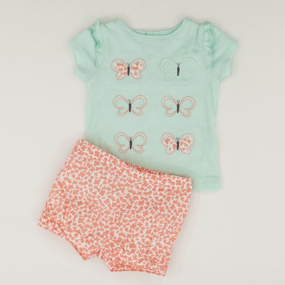 Short Sleeve Butterfly Short Set Size 0-3 Months