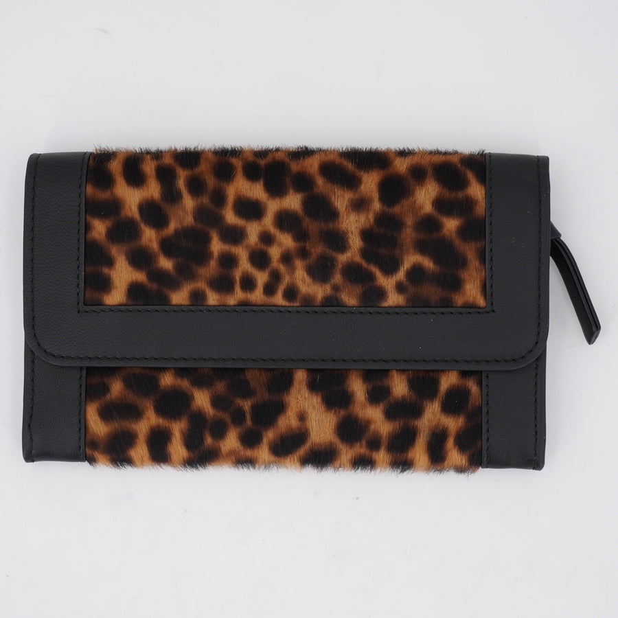 Leather Purse - Tan Leopard/Black