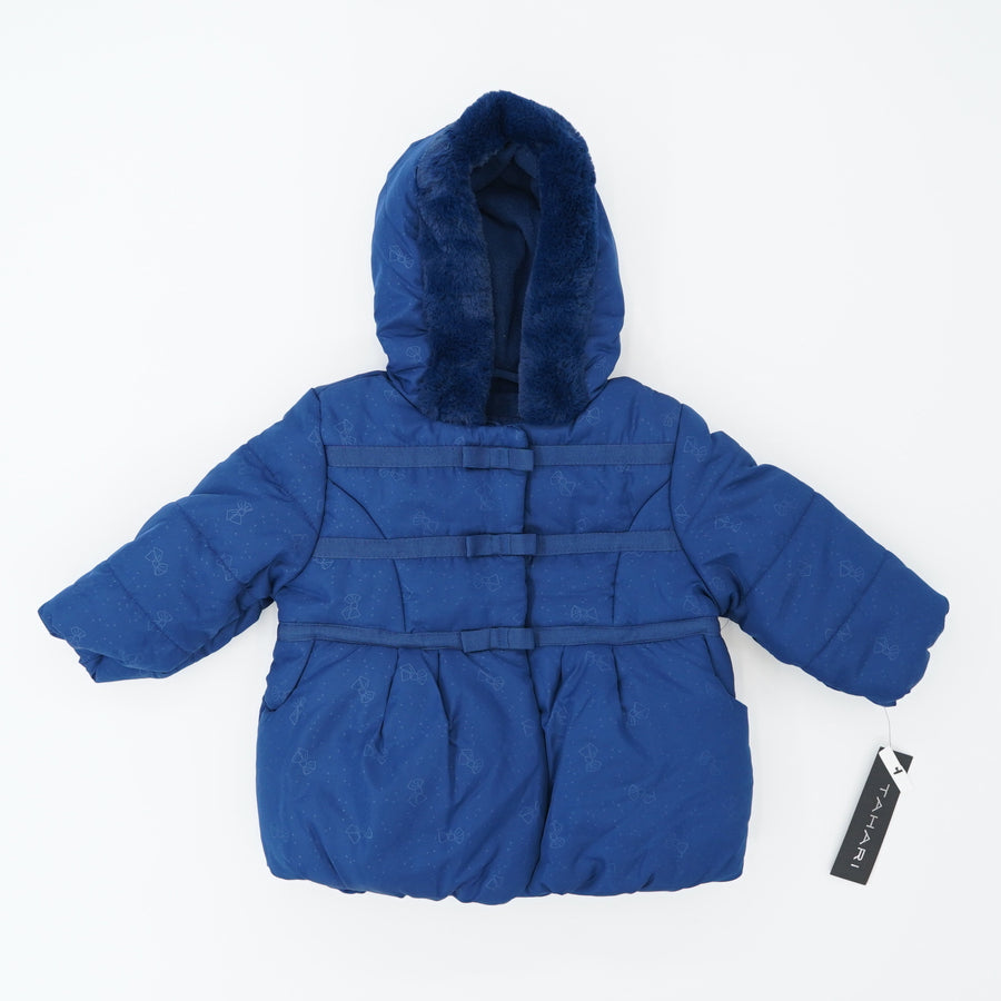 Navy Faux Fur Puffer Jacket Size 18M