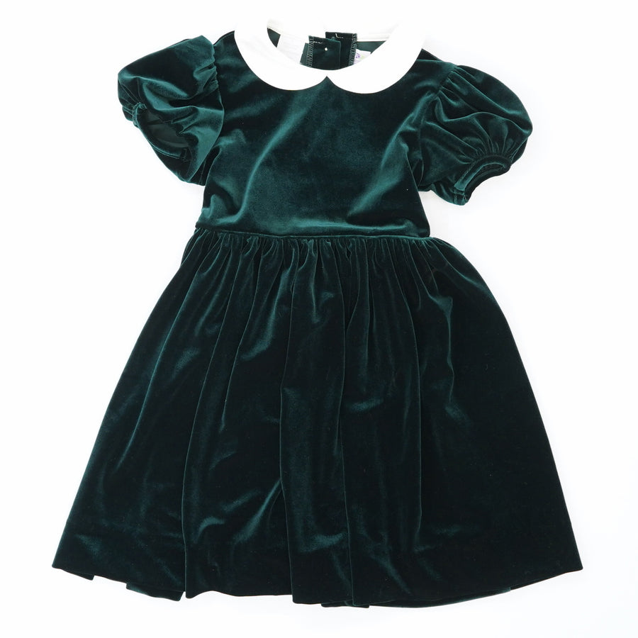 Green Velveteen Collar Dress Size 3T