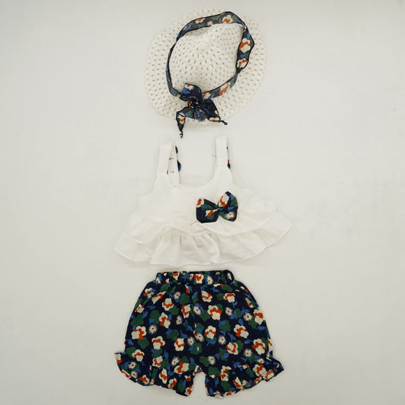 2 Piece Floral Short Set With Hat Size 9-12 Months