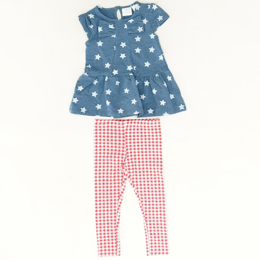 Stars & Checked 2 Piece Outfit Size 2T