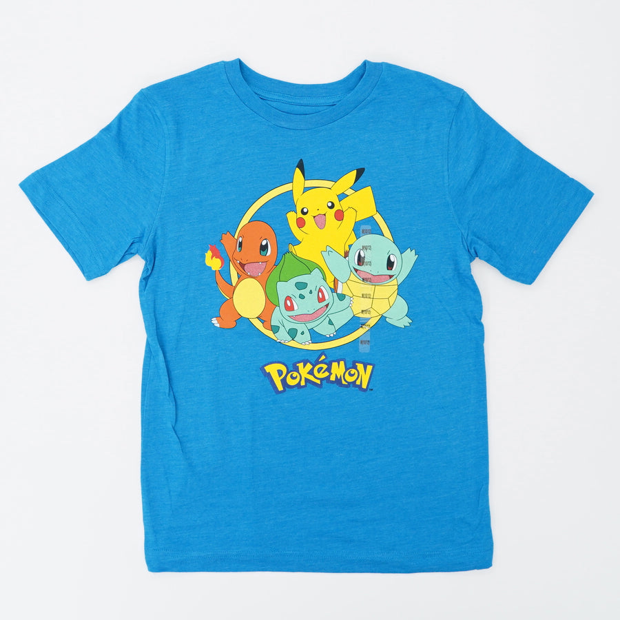 Teal 4 Main Characters Poke'mon Tee Size M