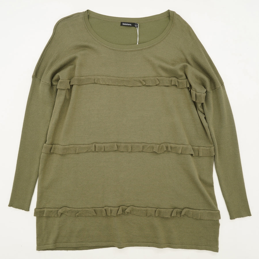 Olive Triple Ruffle Sweater