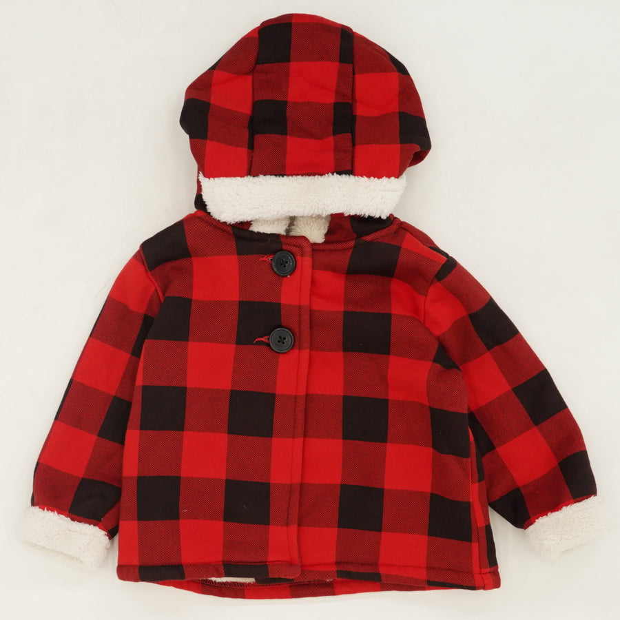 Buffalo Check Fur Lined Jacket Size