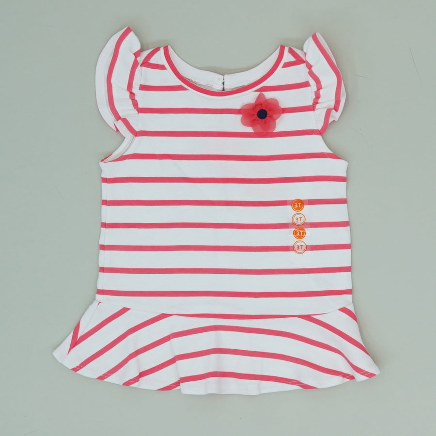 Flower Striped Ruffle Blouse - Size 3T