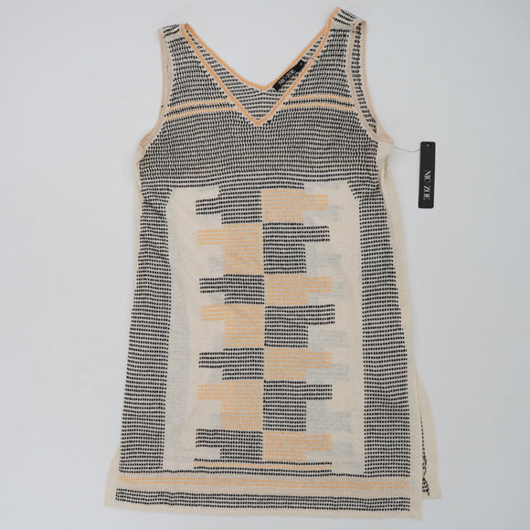 Side-Split Linen-Blend Knit Sweater Tank Size XS