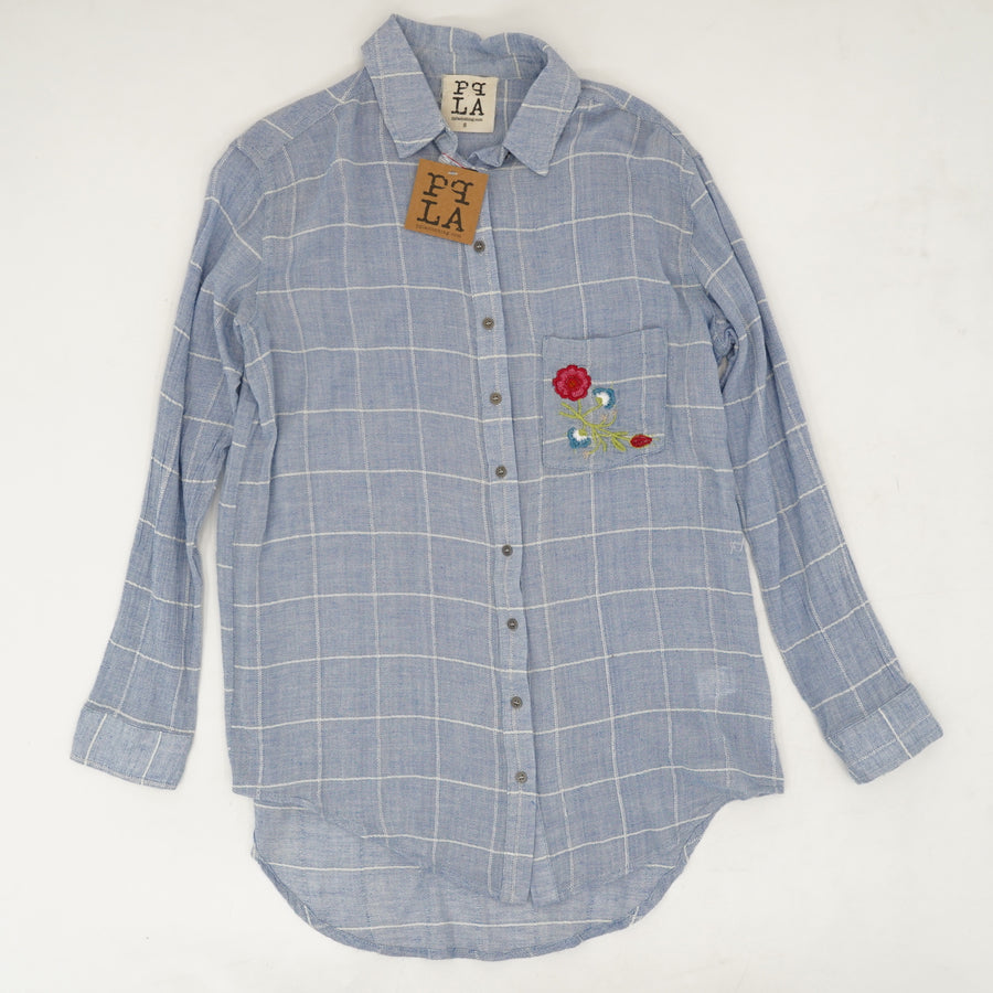 Embroidered Pocket Long Sleeve Button Down Size S