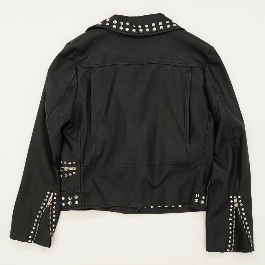 Faux Leather Studded Jacket Size M