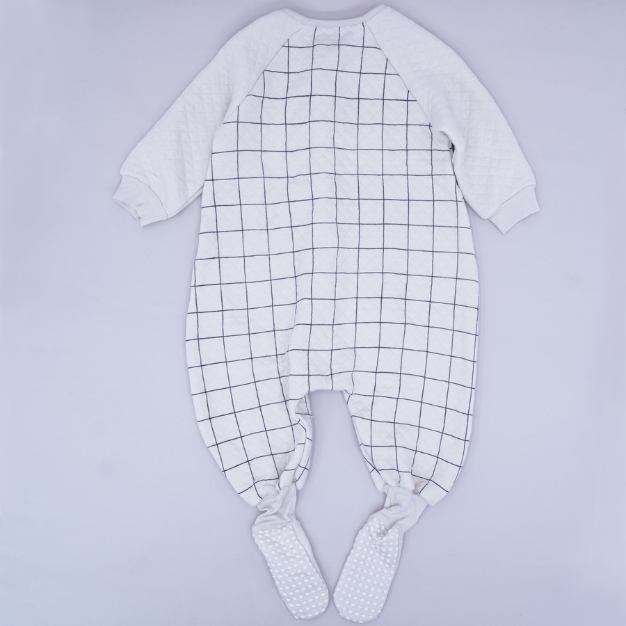 Checked Footed Onesie Size 12-24M