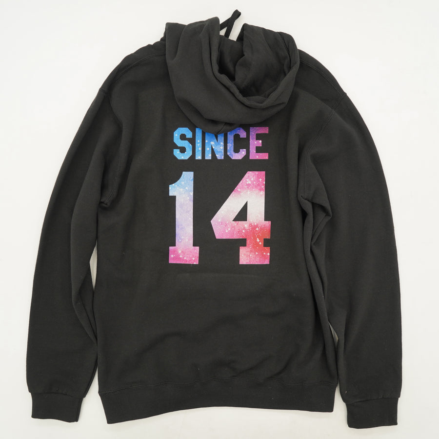 "Black Hoodie With ""Since 14"" On Back Size S"