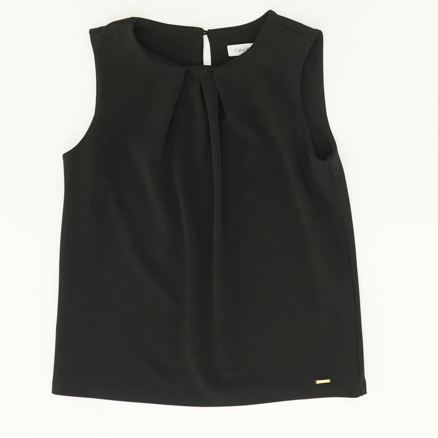 Embellished Pleated Sleeveless Top - Size S